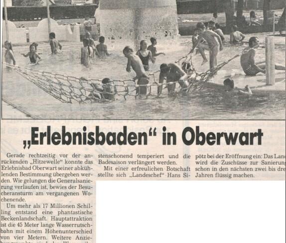 Freibad / Schwimmbad (Badgasse 6): Artikel anlässlich der Eröffnung nach dem Umbau und der Neugestaltung 1990